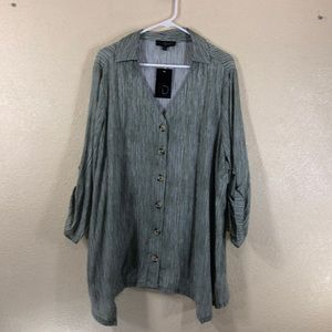 Fred David Top Blouse Sage Green NWT Size 2X
